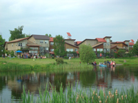 View across pond at EcoVillage at Ithaca